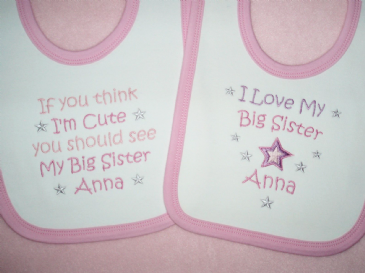 Personalised baby bib If you think i'm cute or  I love my big brother sister